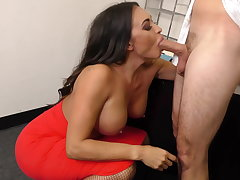 Leggy MILF Boss Claudia Valentine fucks employee