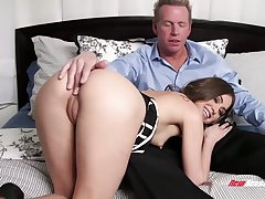 Stepdaughter gets intimate with her stepdad and become absent-minded babe loves to ride a dig up