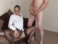 Clothed MILF Jessica Pressley jerks retire from a stiff naked dude