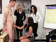 Insolent office MILFs share the new bloke everywhere pungent CFNM scenes