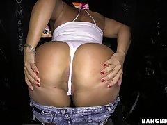 Big butt Latina Becca Diamond sucks with the addition of rides a gloryhole cock